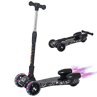 HOMCOM Scooter for Kids Toddler 3 Wheel Adjustable Height w/ Flashing Wheels Music Water Spray Foldable Kick Scooter for Boys and Girls 3 - 8 Yrs Black