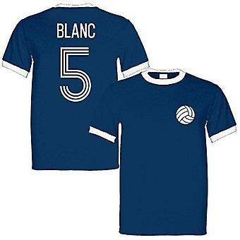 Laurent blanc 5 france legend ringer retro t-shirt navy/white