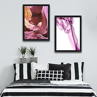 Mjuk rosa uppsättning flerfärgad dekorativ inramad målning (2 stycken)