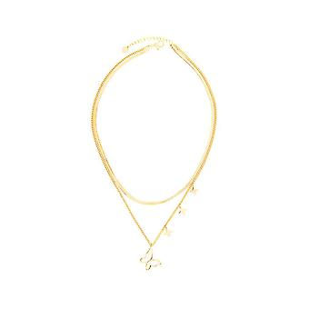 Women Necklace Butterfly Double Layer Overlapped Alloy Pendant For Wedding