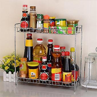 Doble capas estante de acero inoxidable Estante cocina Especias Condimentos Portaequipajes Rack