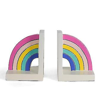 Europeisk stil harpiks regnbue bokeaner, tabletop dekorasjon bokhandler (Pakke med 2)