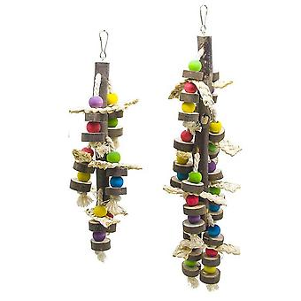 2-piece SetNatural Wood Bird Chewing Toys Blocks Parrot Tearing Toys Best For Finch Budgie Parakeets