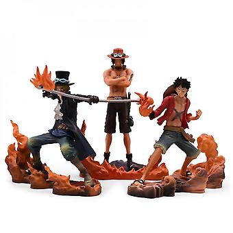 3 Pieces/set One Piece Anime Three Brothers Action Doll Toy Pvc Doll Model Collection Doll