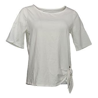 Belle af Kim Gravel Kvinders Top Grommet Side Tie T-Shirt Hvid A289018