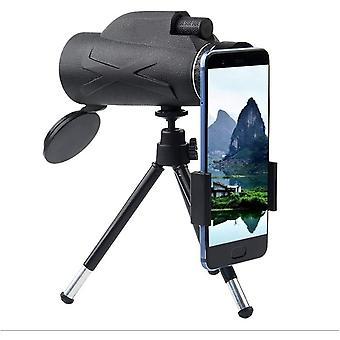 Télescope monoculaire 80X100, télescope portable haute définition avec support de téléphone portable et support pour l'observation des oiseaux en camping Paysages fauniques itinérants, (noir)