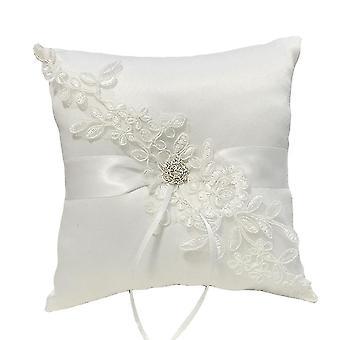 Satin Lace Bride Wedding Ring Pillow Pillow Cushion Holder White 21x21cm