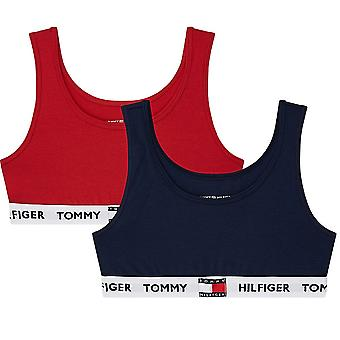 تومي هيلفيغر بنات 2 حزمة القطن الأصلي Bralette، سترة البحرية / تانجو الأحمر، العمر 14-16
