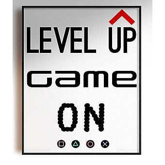 GnG Gaming A5 Word Citat Indrammet Plakater for Kids Soveværelser Artwork Niveau Up PS