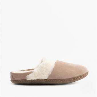 Sorel Nakiska Slide 2 Ladies Suede Mule Slippers Omega Taupe/natural