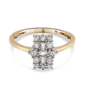 9K Yellow Gold SGL Certified Diamond (I3/G-H) Ring 0.50 Ct.(R)