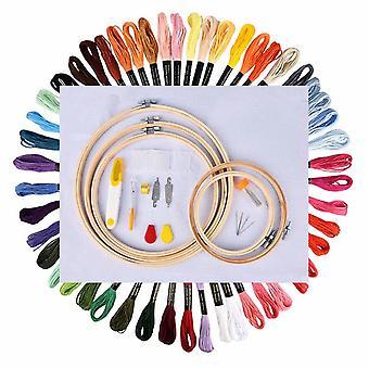 Hand borduurwerk Diy Materiaal 50 Kleuren Draad + Hand Borduurwerk Stretch Hoop Kit + Borduurwerk Naald Kit
