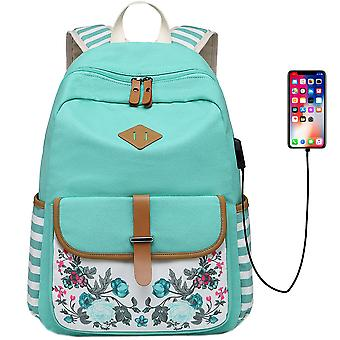Fashionable Travel Flowers Backpack With Usb Port