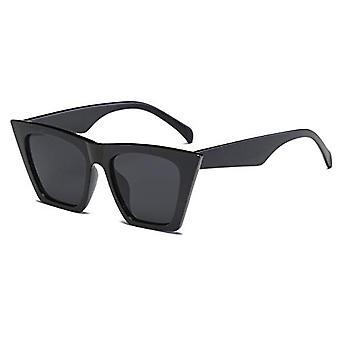 Vintage Square Cat Eye Sunglasses Women Trendy Cateye Sunglasses B2473 (black)