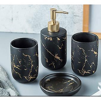 Set van 4-delige badkameraccessoires set met zwarte modieuze badkamer (