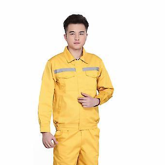 Støvtæt og snavset korrekt reflekterende strimmel gul autoreparationsuniform til værkstedsarbejde (180/xxl)