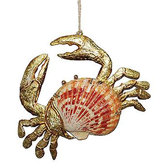 Scallop Shell Golden Crab Christmas Holiday Ornament
