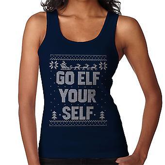 Go Elf Yourself Christmas Knit Pattern Women's Vest