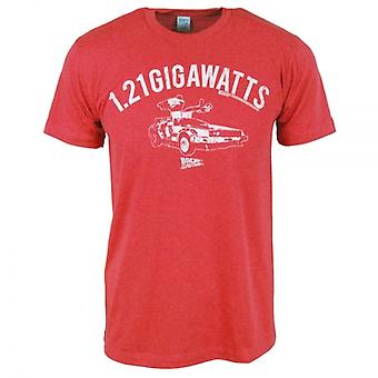 Back to the Future Mens Back To The Future 1.21 Gigawatts T Shirt Red