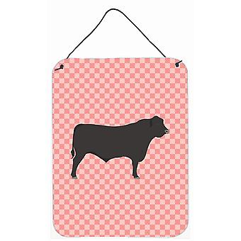 Black Angus Cow Check rose mur ou porte suspendue imprime