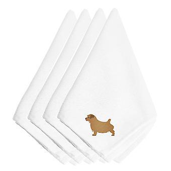 Carolines Schätze BB3409NPKE Norfolk Terrier Bestickte Servietten 4er Set