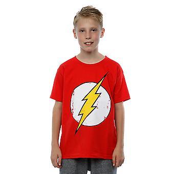 בנים קומיקס DC פלאש לוגו במצוקה חולצת טריקו