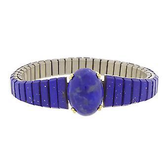 Stål och guld armband med lapis lazuli