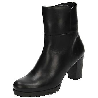 JWF Black Real Leather Block High Heel Platform Ankle Boots