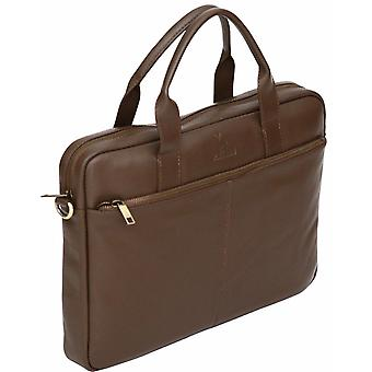 "Genuine Pebble Leather 15.6"" Laptop Bag Twin Handle Business Case Soft Briefcase"