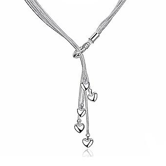Beautiful Stunning Hearts Love Pendant Necklace Silver Plated Women's Gift