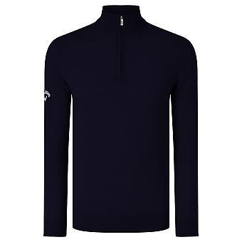 Callaway Mens Ribbed Zip Merino Sweater