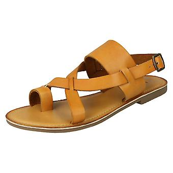 Ladies Leather Collection Toeloop Sandals F00127 - Tan Leather - UK Size 3 - EU Size 36 - US Size 5