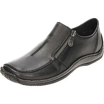 Rieker schwarz Leder Loafer Slip-on Schuhe L1780-00