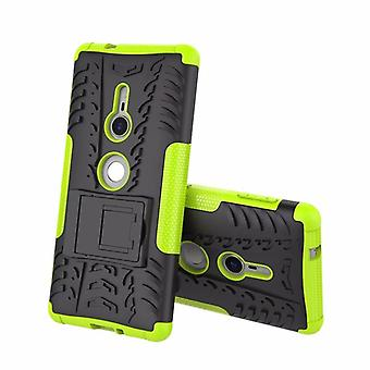 Hybrid Case 2teilig Robot Grün für Sony Xperia XZ2 Tasche Hülle Cover Schutz