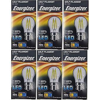 6 x Energizer à incandescence LED Golf BC ampoule B22 4W = 40W 470Lumen baïonnette blanc chaud Cap [classe énergétique A +]