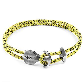 Anchor & Crew Yellow Noir Delta Anchor Silver and Rope Bracelet