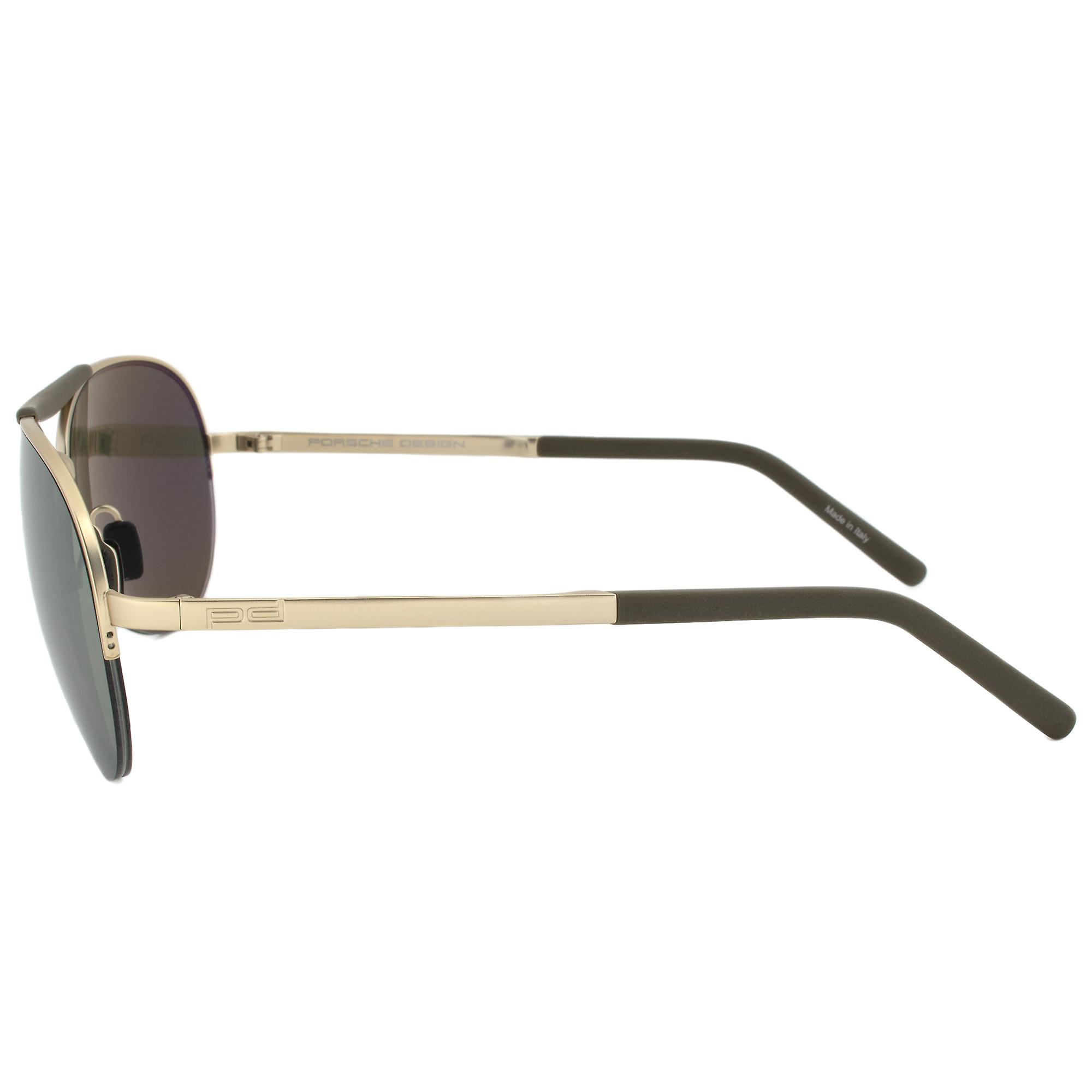 Porsche Design Design P8540 C Aviator Sunglasses | Light Gold Frame | Olive Silver Mirror Lens