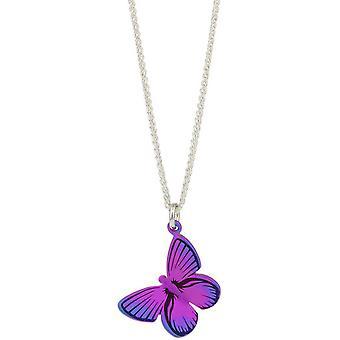Ti2 Titanium Woodland Large Butterfly Pendant - Pink