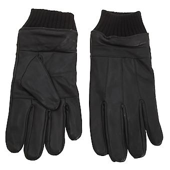 Tom Franks Mens Leather Gloves With Knitted Cuff