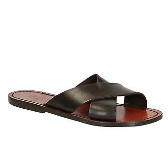 Brown leather slide sandals for women handmade