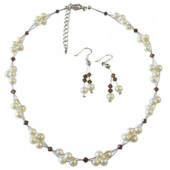 Fashion Jewelry For Everyone Ivory Pearls Smoked Topaz Crystals