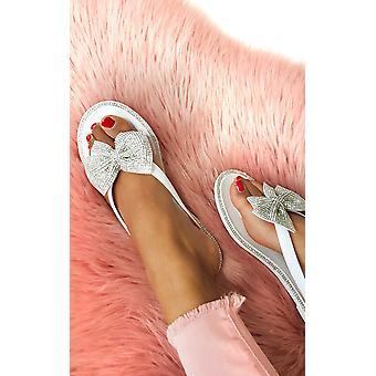 IKRUSH Womens Regina Diamante Bow Sandals Flip Flop
