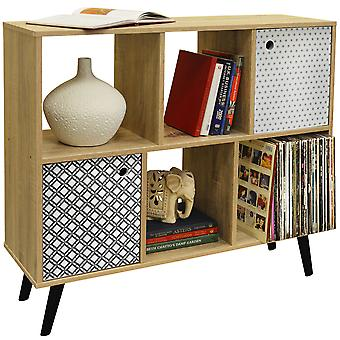 Retro-deschis Sideboard rafturi Cube/LP vinil Storage-2 usi