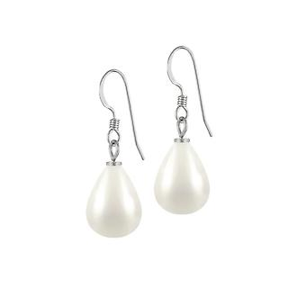 Eternal Collection Raindrop Midi White Shell Pearl Silver Tone Drop Pierced Earrings