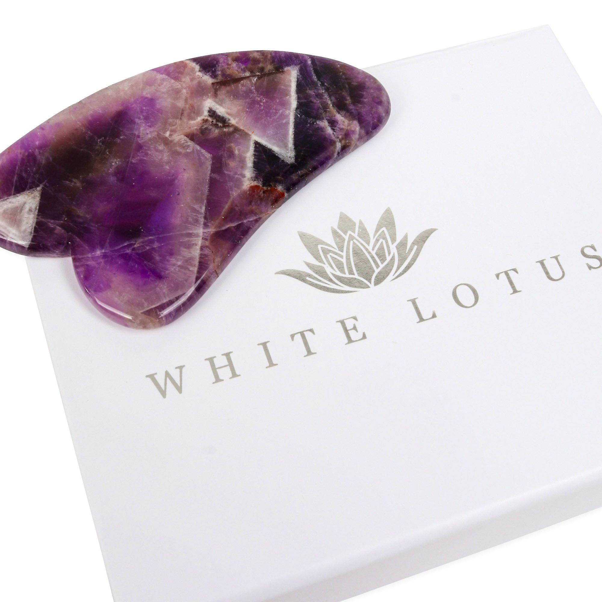 Amethyst gua sha- natural chemical free crystal in a signature silk lined box