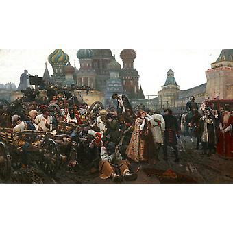 The Morning of the Execution of the, Vasily Surikov, 60x35cm