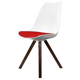Fusion Living Eiffel Inspired White And Red Dining Chair With Square Pyramid Dark Wood Legs
