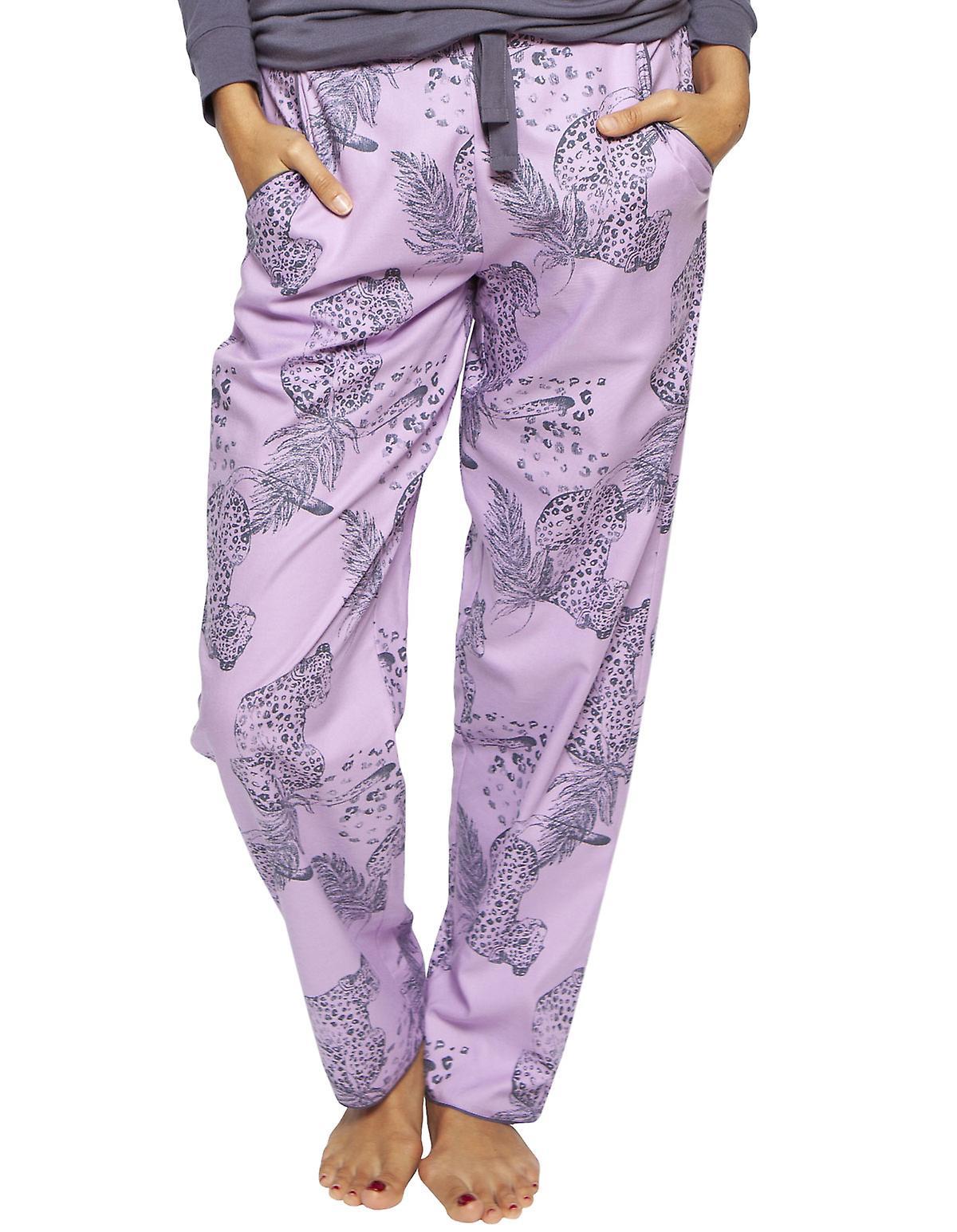 Cyberjammies 4182 Women's Laura Pink Mix Leopard Print Cotton Pyjama Pant