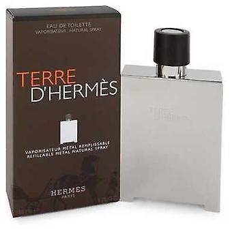 Terre D' Hermes av Hermes Eau de Toilette Spray påfyllnings bara (metall) 5 oz (män) V728-543184