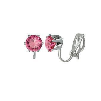 Eeuwige collectie Tara Rose roze Crystal Silver Tone Stud Clip op oorbellen